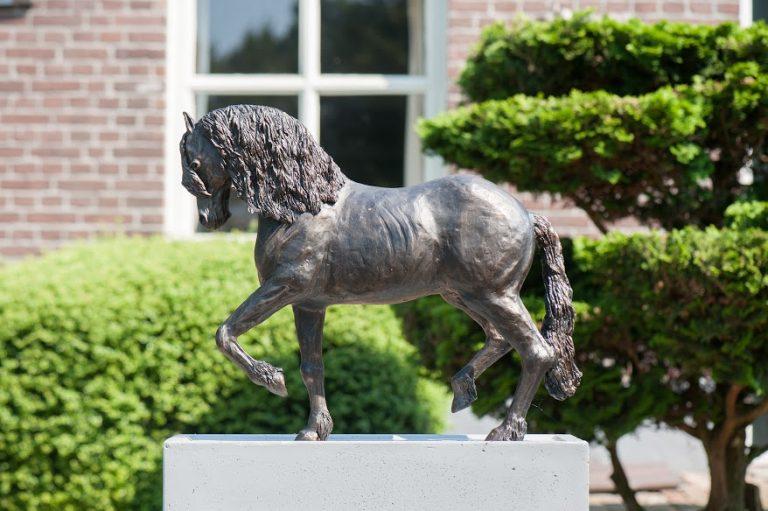 Friesch paard in piaffe